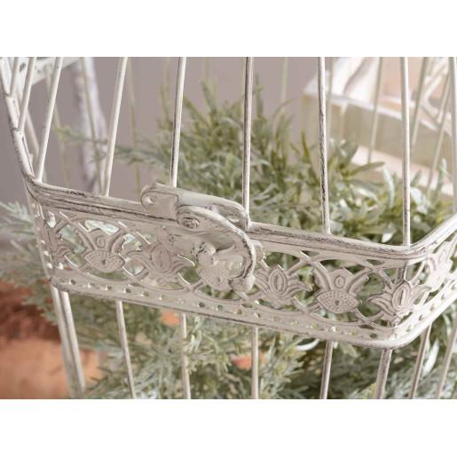 Colivie metal alb patinat suspendabila Emily cm 27 cm x 24 cm x 47 H