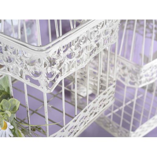 Colivie metal alb patinat suspendabila Emily 18 cm x 18 cm x 34 H