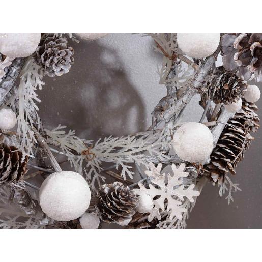 Coronita Craciun conuri naturale lemn alb Wood 27,5 cm