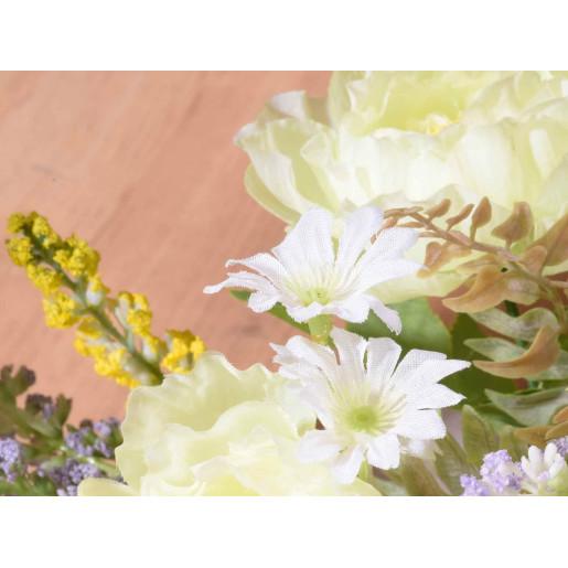 Buchet flori artificiale peonia alb 24 cm