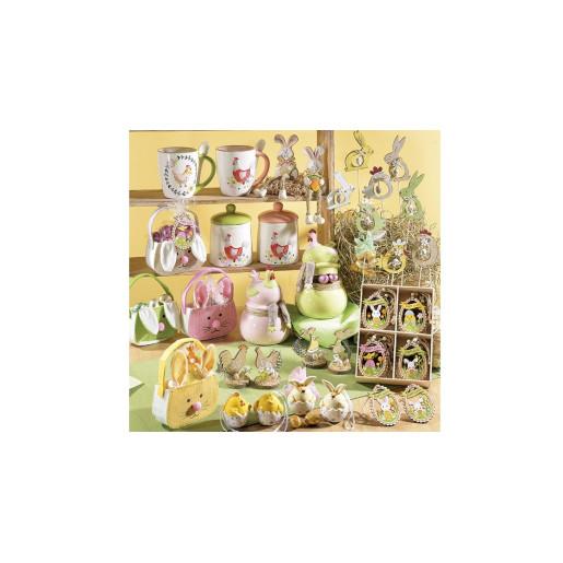 Borcan decorativ model Gaina ceramica rosu verde Ø 10 cm x 14 h