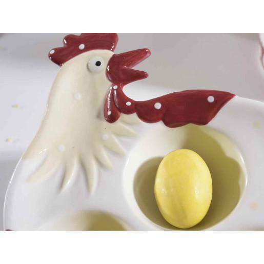 Platou Paste Gallina 3 oua ceramica alb rosu cm 14 cm x 14 cm