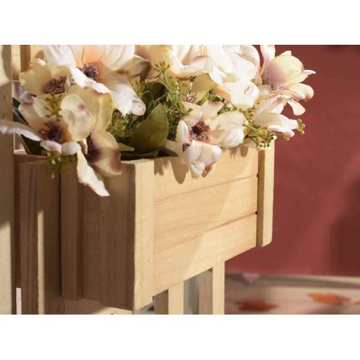 Suport pentru flori din lemn natur 93 cm  x 13,5 cm x 85 h