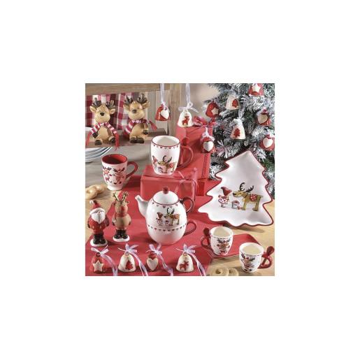 Cana ceramica alb rosu gri model Ren Ø 10 cm x 11 H