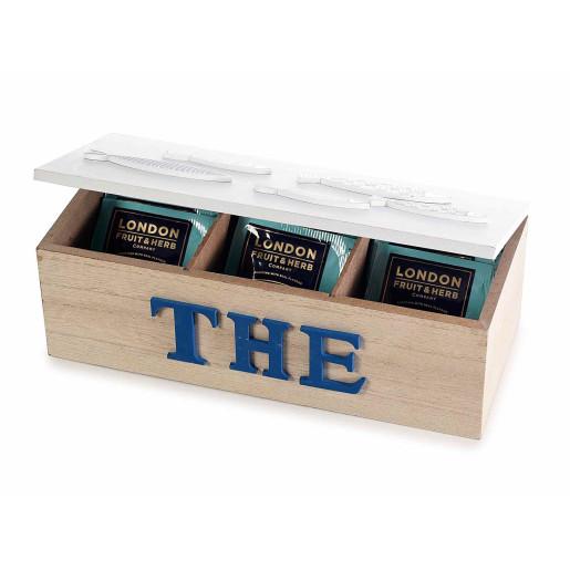 Cutie ceai lemn natur alb albastru 3 compartimente model Marin cm 23 x 10 cm x 9 H