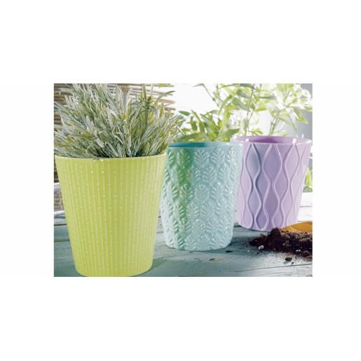 Ghiveci pentru flori ceramica verde Ø 13 cm x 14 H
