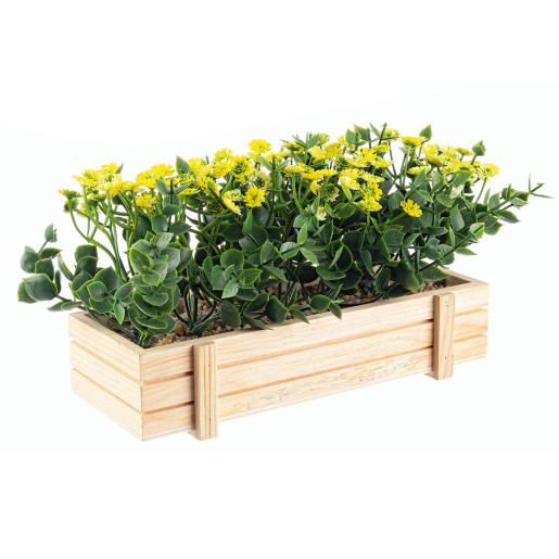 Flori artificiale galbene in jardiniera 23 cm x 9 cm x 14 h