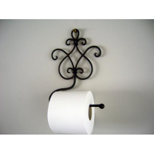 Suport hartie igienica de perete fier forjat maro Baroc 17 cm x 7 cm x 22 cm