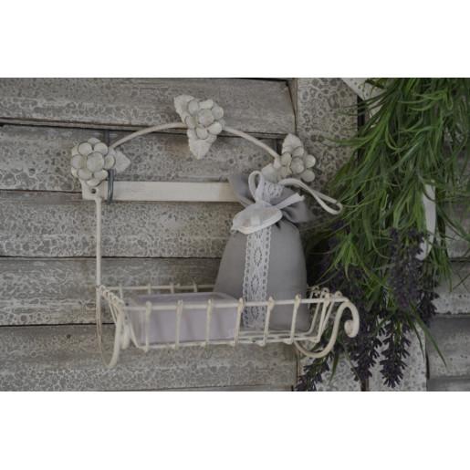 Savoniera fier alb patinat 20 cm x 12 cm x 20 cm