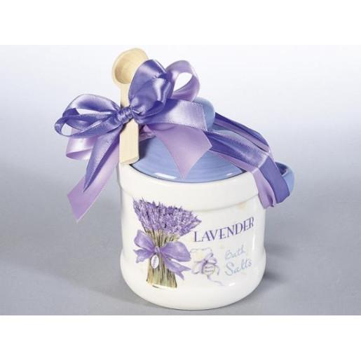 Borcan cu lingurita ceramica alb mov Lavander cm 11 cm x 9 cm x 12 H