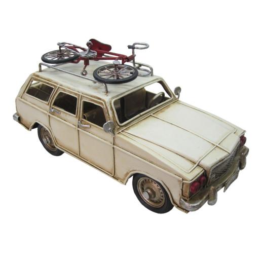 Macheta masina retro cu bicicleta metal bej 28*11*12 cm
