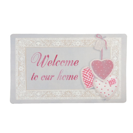Covoras intrare antiderapant roz gri Welcome 74 cm x 44 cm