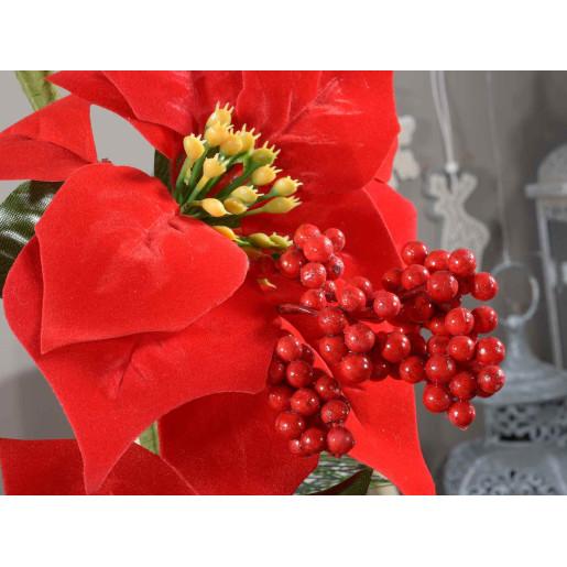 Ghirlanda Craciun craciunite rosii si fructe de padure 100 cm