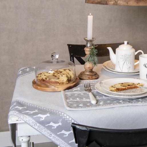 Platou decorativ lemn cu capac din sticla aperitiv desert Ø 21 cm x 14 cm