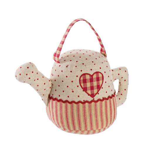 Opritor de usa textil rosu bej Tea Pot 27x14x16h