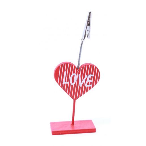 Decoratiune clema inima lemn cu clips pentru poza 12 cm