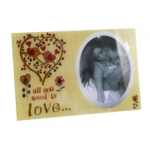 Rama foto de masa sticla All you need is love  30 cm x 20 cm