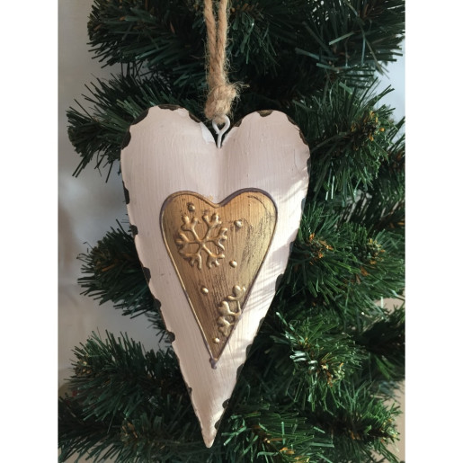 Decoratiune brad metal alb inima