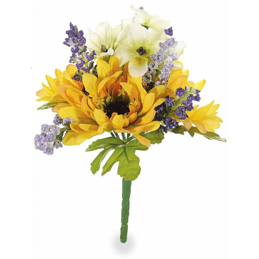 Buchet artificial flori de camp si floarea soarelui Yellow 20 cm