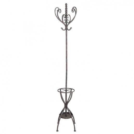 Cuier si suport umbrele fier forjat negru antichizat de pardoseala Melanie 40 cm x 40 cm x 176 cm