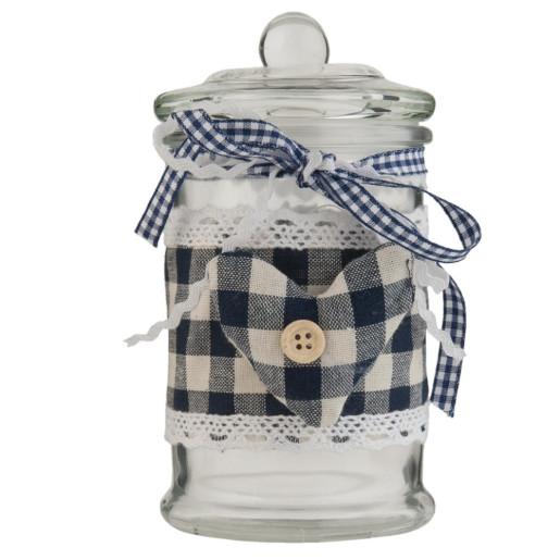 Borcan cu inchidere ermetica sticla textil condimente Heart 8 cm x 14 cm