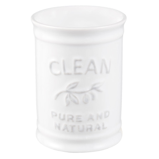 Pahar ceramica alba periute dinti Clean Ø 8x11 cm