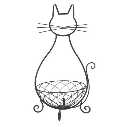 Pisica decorativa metal maro cu cos 31x25x55 cm