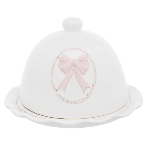 Platou decorativ cu capac din ceramica alb roz aperitiv desert Ø 20*13 cm