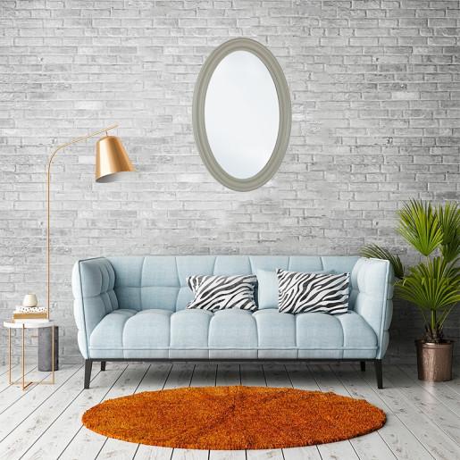 Oglinda decorativa perete cu rama lemn gri 75 cm x 4 cm x 105 h