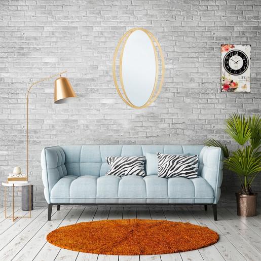 Oglinda decorativa perete cu rama metal aurie 52 cm x 80h
