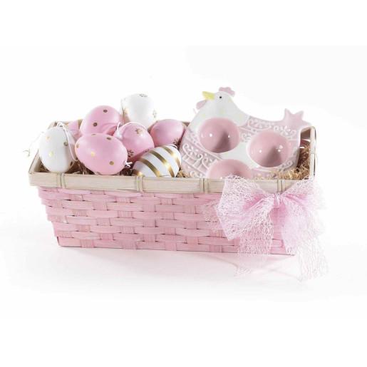 Platou ceramic Paste Gallina 3 oua ceramica roz  cm 13 x 15x 4 H