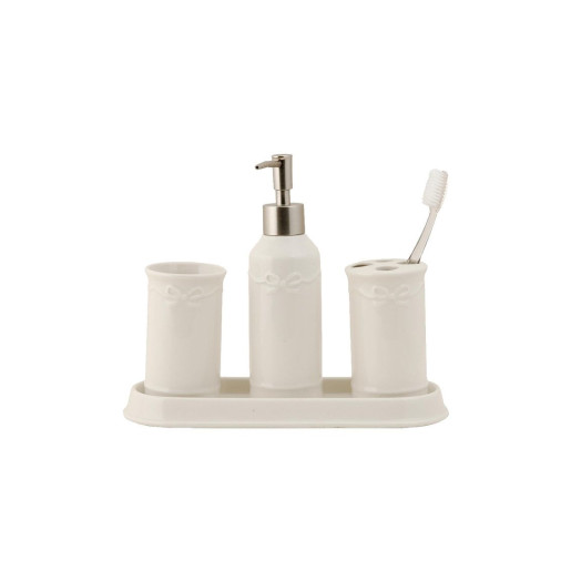 Set baie ceramica alb 4 piese Bow 26,5 x 10 x 2,5 cm