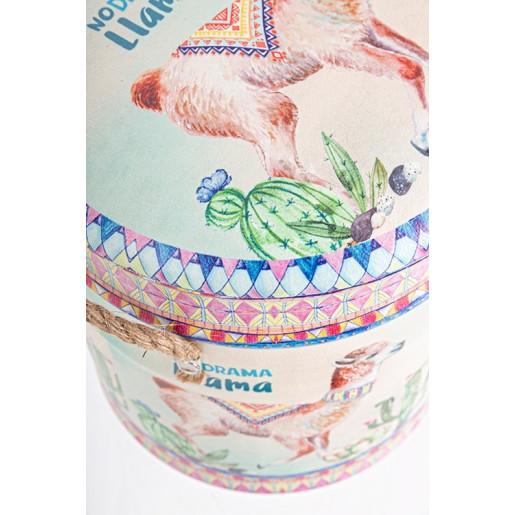 Taburet cu spatiu depozitare piele ecologica Lama Ø31 cm x 37 h