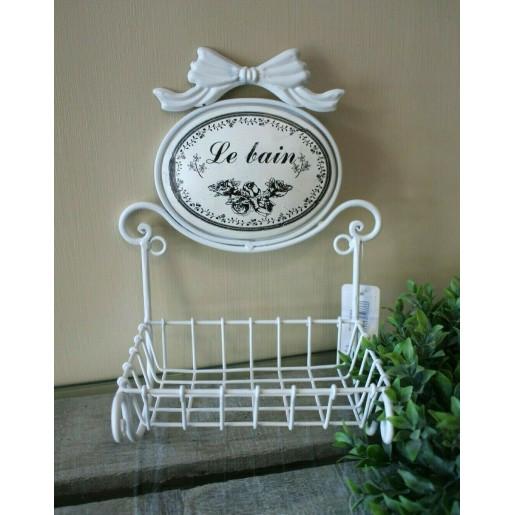 Savoniera metal alb Le Bain 17 cm x 13 cm x 29 cm