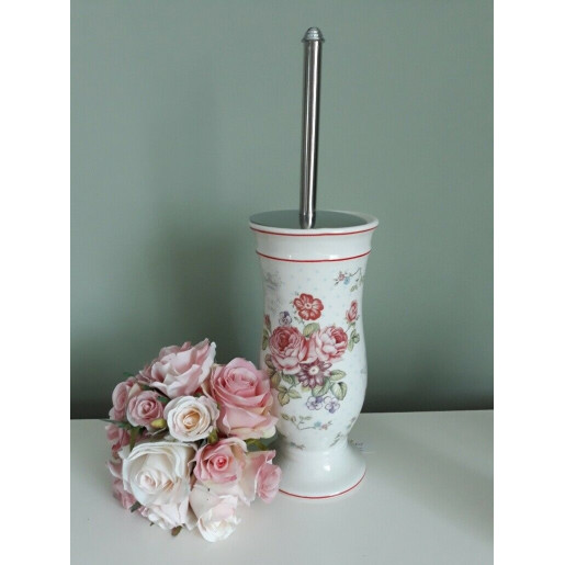 Perie toaleta ceramica alba Roses Ø 12x26 cm