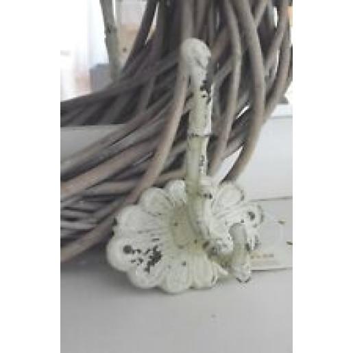 Cuier perete fier forjat alb vintage 10 cm x 10 cm x 13 cm