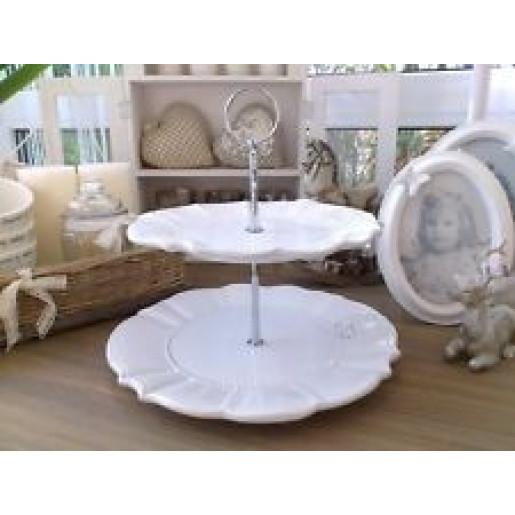 Platou ceramica alb 2 etaje Elegance Ø 21 cm x 23 cm