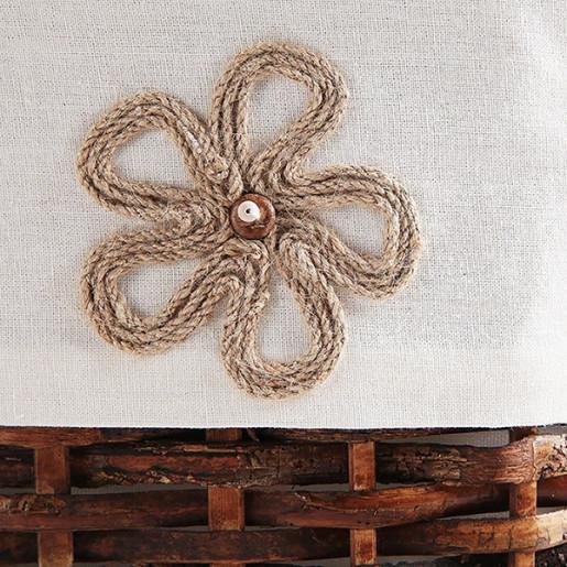 Cos depozitare din rattan textil maro Lily 66 cm x 40 cm x 43 H