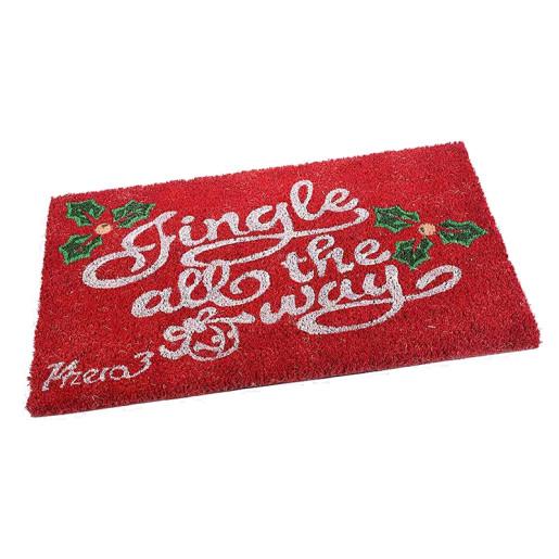 Covoras intrare model Craciun Jingle rosu cm 60 x 40 H