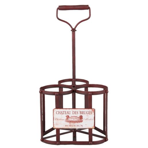 Suport fier forjat rosu 3 sticle vin Chateau des Bruges 20x20x40 cm