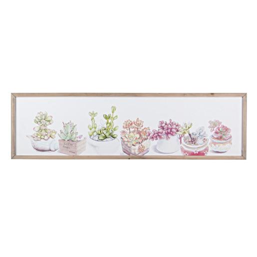 Tablou decorativ cu rama plante suculente 120x2x34h