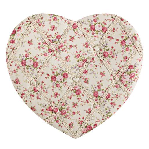 Decoratiune suspendabila pentru perete textil inima Roses Memo Board 43x40 cm