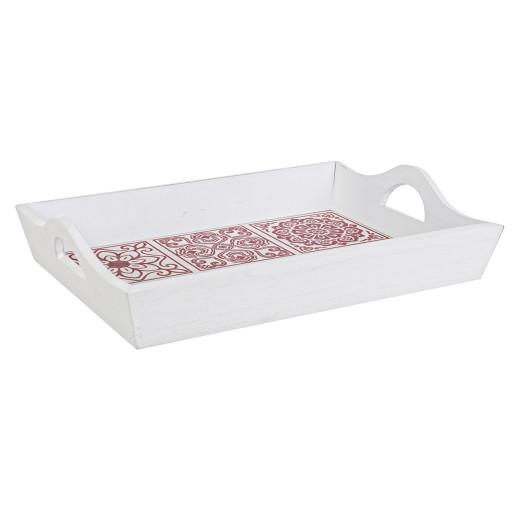 Tava decorativa lemn alb rosu Barcelona 39x27x8h