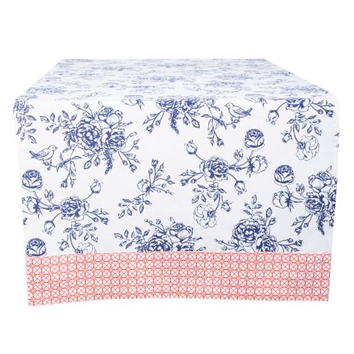 Fata de masa bumbac alb albastru Blue Flowers 50 cm x140 cm