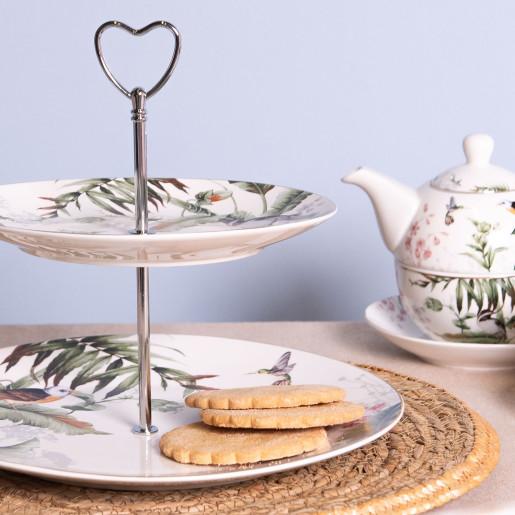 Platou deserturi aperitive portelan model floral 2 etaje Ø 26 cm