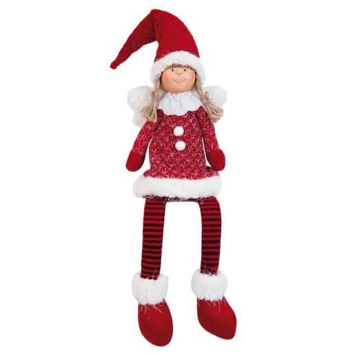 Figurina inger textil rosu alb 13 cm x 9 cm x 46 cm