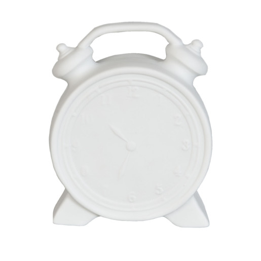 Lampa de veghe ceramica alba model Ceas 10x6x13 cm LED