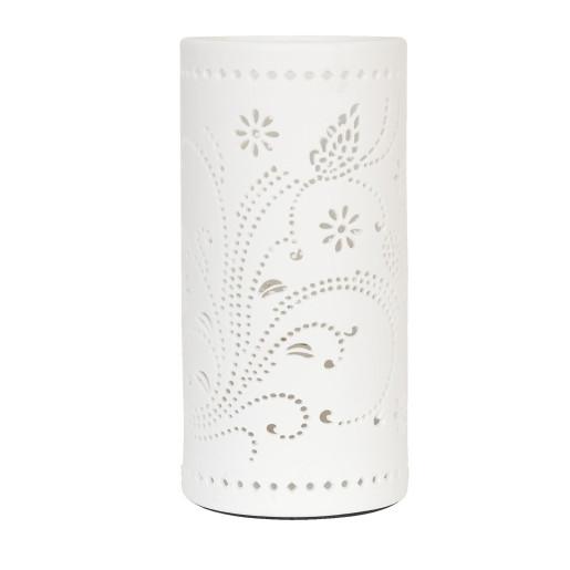 Veioza decorativa ceramica Fluturasi alba model Ø 12x25 cm E27