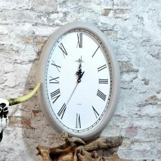 Ceas perete lemn gri 30 cm x 42 cm