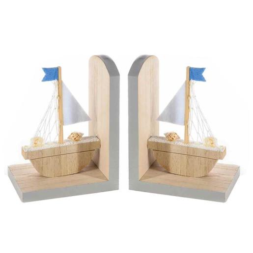 Set suporturi lemn carti Boat cm 11,5 x 8 x 15 H